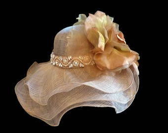 "Kentucky Derby Hat, Sinamay Straw Hat, Downton Abby Style, Rose Gold Rhinestones, Spring Fashion Sinamay Hat is Perfect for a ""Royal Tea"""