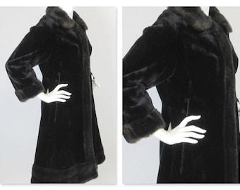 Vintage 1940s or 50s Russian Princess Form Fitting Black on Black Faux Fur Coat, Sz S, M