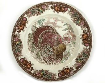 """Vintage Thanksgiving Dinner Plate, Johnson Brothers, """"Autumn Monarch"""", Made in England, Turkey Center, Brown, Multi-colored Fruit"""
