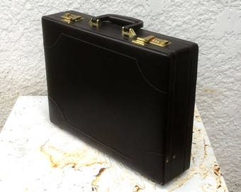 """Vintage """"Airway"""" Chocolate Brown Hard-Shell Faux Leather Briefcase, Brass Hardware, Combo Locks, Original Paperwork"""