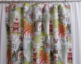"Asian Inspired Curtains, Toile Window Curtains, Far East Theme Drapes, Pagodas, Bright Home Decor, One Pair 50""W Rod-Pocket Curtains"