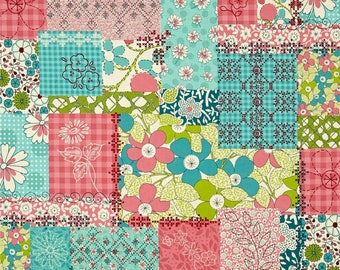 Patchwork Shower Curtain, Floral Collage Shower Curtain, Teal, Green, Pink Shower Curtain, Colorful Bathroom Accessories