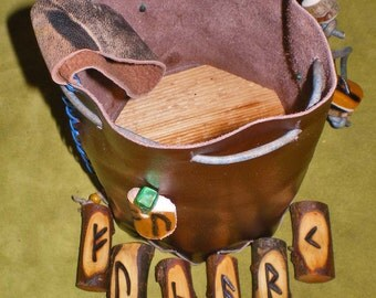 Willow Wood Rune Set and Leather Casting Cup Pouch