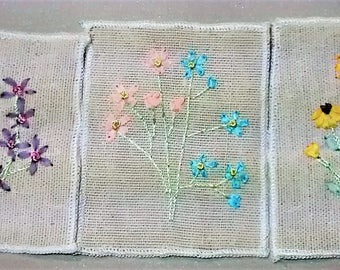 E-125 Three Floral Patches/ Appliques