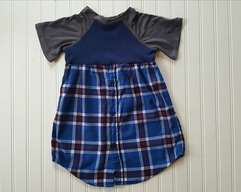 Size 5T Flannel T Shirt Dress Upcycled