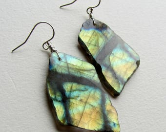 Labradorite Statement Earrings Raw Gemstone Jewelry Handmade in Seattle Spectrolite Flash Pacific Northwest Made Gift for Her