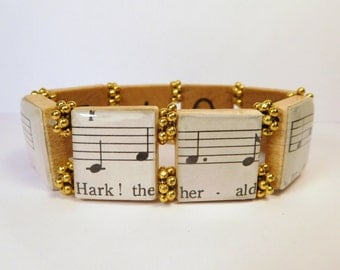 "CHRISTMAS Carol  ""HARK the HERALD Angels Sing""  Lyrics Jewelry / Scrabble Bracelet / Authentic Vintage Sheet Music / Song"