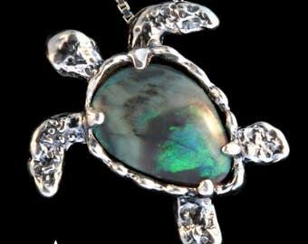 Sea Turtle Necklace Turtle Jewelry Necklace Australian Opal Shell Sea Turtle Seaturtle Pendant Turtle Charm Opal Jewelry Moonstone Jewelry