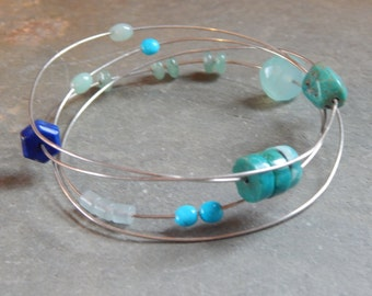 Making Waves Blue Green Bangle Bracelet, turquoise, lapis, aquamarine, chalcedony bracelet, colors of the sea, colors of the ocean