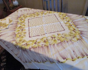 """1950's Golden Yellow and Brown, Tablecloth, Polka Dots and Flowers, 50"""" Square, 2 Napkins 15"""" Square, 1 Napkin Some Stains"""