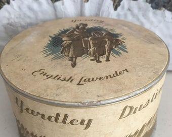 Vintage Yardley English Lavender Dusting Powder Box - Vanity Boudoir Powder Box