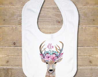 Baby Bib, Baby Bib Set, Burp Cloth, Baby Shower Gift, Newborn Gift, Baby Gift, Baby Girl, Flowers, Personalized Baby Bib, Deer, Tribal, Boho