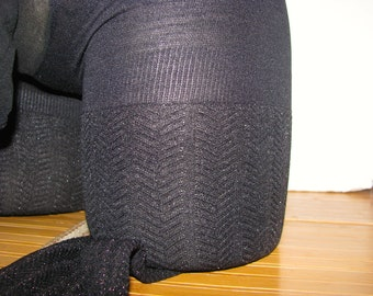 Pantyhose for Men Deep Black with Pattern Legs  Sissy Pantyhose with Comfort Sleeve Size C Tights Pantyhose