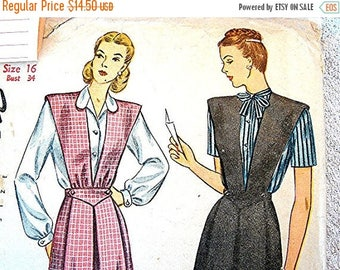on SALE 25% OFF 1940s Maternity Dress Pattern Misses size 16 UNCUT Womens Maternity Jumper with Blouse Vintage Sewing Pattern 40s