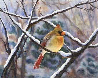 Cardinal Winter Watercolor Painting  Print by Cathy Hillegas, 8x10 print, watercolor snow, watercolor cardinal, winter landscape print