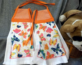 Hanging Printed Kitchen Terry Tie Towels, Small Orange Checks Print Top
