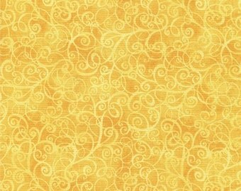 211601 yellow cute swirl pattern fabric Timeless Treasures