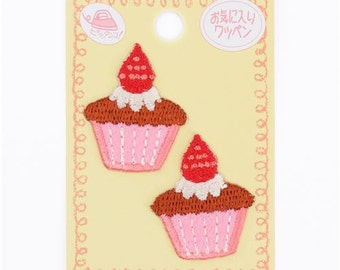211857 small pink brown cupcake iron-on transfer sheet 2 piece