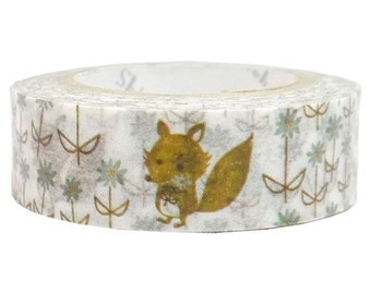 210840 white cute animal flower Washi Masking Tape deco tape Shinzi Katoh