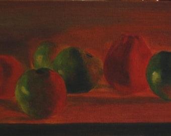 Apple Family 6x12 Original Oil Painting