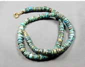 """OnSaLE Necklace - 23"""" Turquoise Heishi- Cruise / Sophisticated Casual / Urban Tribal / Boho Chic /  (turq n401)"""