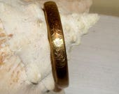 Antique Bangle Bracelet Engraved Gold Filled Estate Jewelry Vintage