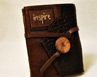 SUMMER SALE:  Inspire - Medium Leather Journal with Recycled Paper