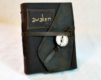 SUMMER SALE:  Awaken Leather Journal with Recycled Paper-Medium