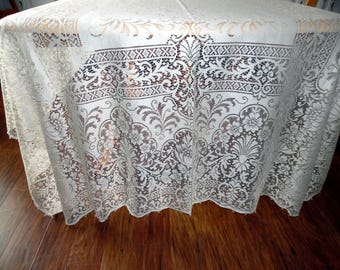 Quaker Lace Overlay Lace Tablecloth New Old Stock Ecru 70 X 92 SVFT ECS