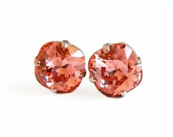 Coral crystal earrings - rose gold earrings - Swarovski crystal - crystal stud earrings - rose gold jewelry - peach earrings