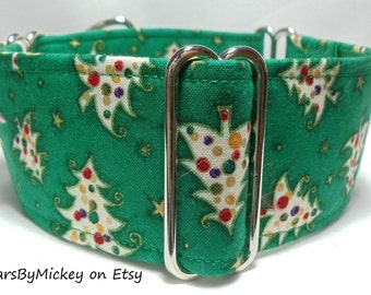 Tossed Trees on Green Cotton Greyhound, Whippet, Galgo, Pit Bull, Dog, Sighthound Martingale Collar
