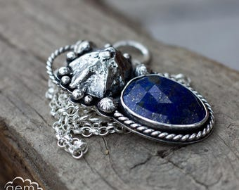 Sterling silver and rose cut lapis lazuli necklace with cast shell, boho style, rustic, ocean - Sisters of the Tide -