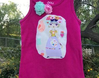 FRIDA KAHLO Esperanza Bleeding Heart GIRLS Tank Top Size S/6 Ready-to-Ship
