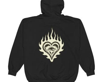 Flaming Heart with All Seeing Eye Unisex Zip Hoodie - Size Small to 2XL