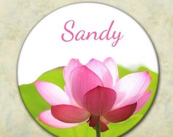 Personalized Pocket Mirror, Bridesmaid Gift, Shower Favor, Wedding Favor, Pink Flower, Spring Wedding, Summer Wedding, Customized