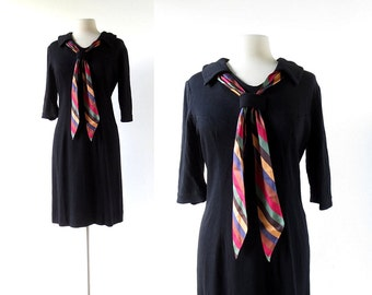 60s Black Dress | Un Caprice | Knit Dress | 1960s Dress | Large L