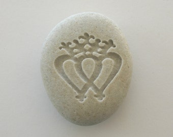 Luckenbooth Engraved Stone Scottish Broach River Rock