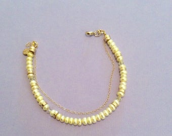 Genuine Tiny Rondell soft yellow gold filled Pearl bracelet