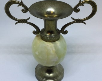 "Vintage Action Italy Miniature Urn Vase Metal & Stone 3 1/2"" tall"