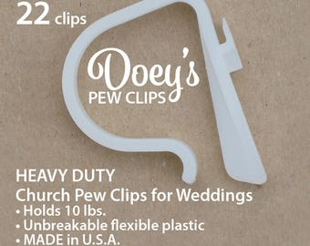 Doeys Pew Bow Clips hold heavy Wedding Ceremony Pew Decorations to Church Pews & Reception Tables. Bows, Flowers, Mason Jars, 22 Pew Hooks