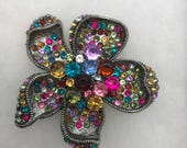 Metal Multicolored Rhinestone Flower Brooch, Refurbished