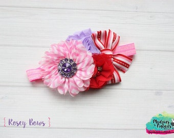Baby headband { Rosey Bows } pink, red, white, lavendar striped valentine headband, flower girl, first birthday cake smash photography prop
