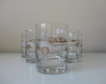 VINTAGE set of 6 AUTO car BARWARE low ball tumblers