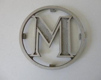 VINTAGE salvaged industrial METAL letter 'm' PLAQUE