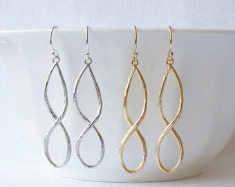 Infinity Earrings, Silver Infinity Jewelry, Gold Infinity Jewelry