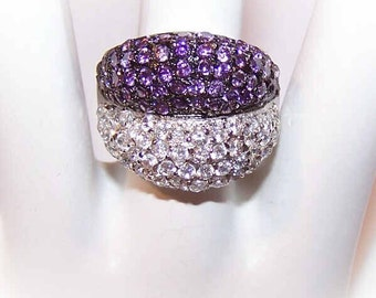 Stunning STERLING SILVER and Purple/White Cubic Zirconia Fashion Ring