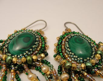 Malachite Bead Embroidered Earrings