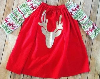 Red Reindeer Tunic Dress, Holiday Dress - Christmas Dress, Handmade Dress, Girls Holiday Dresses, Vintage Christmas