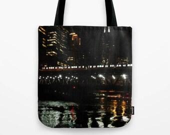 Chicago El and River at Night Photo Tote Bag