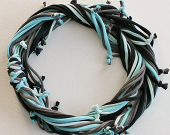 T Shirt Scarf - Infinity Circle Scarves Recycled Cotton - Black Blue Sky Light Aqua Denim Dark Charcoal Grey Gray Casual Necklace